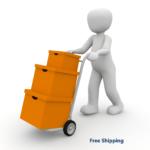 Free Shipping, three, orange, boxes