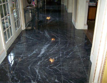 Italian Black Marble floor, Honed, Floor Refinished