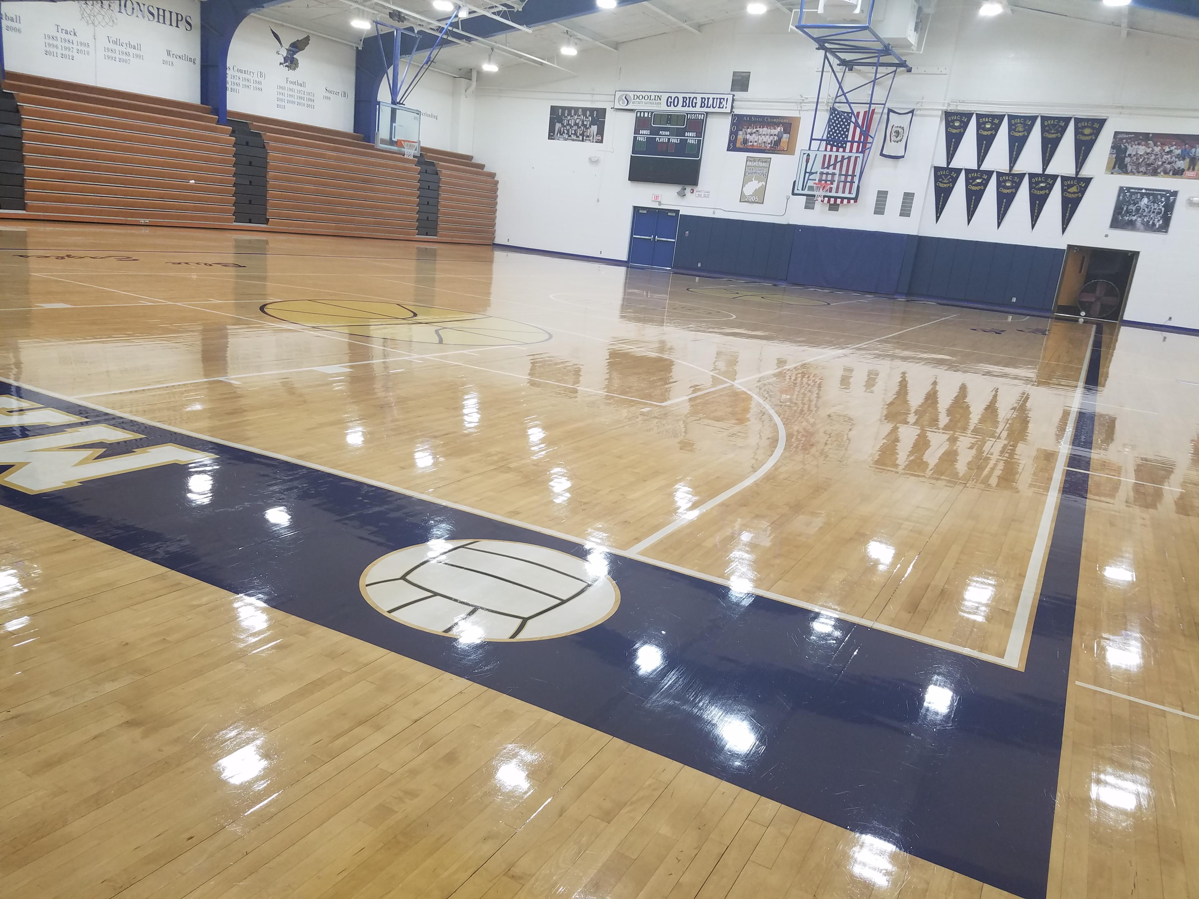 Basketball gym Wetzel County, WV Schools- Magnolia High Blue Eagles.