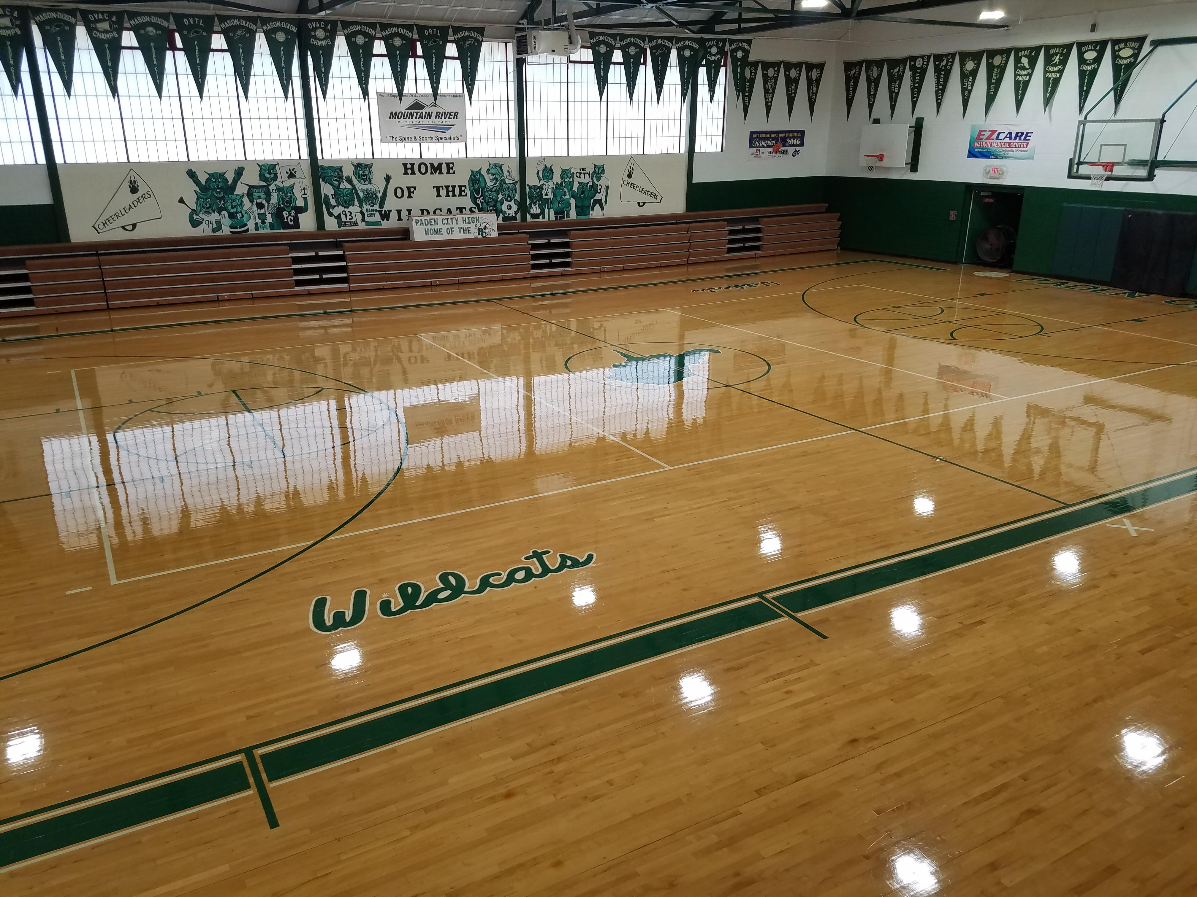 Gym Floor Restore at Paden High Wildcats- Paden City, WV