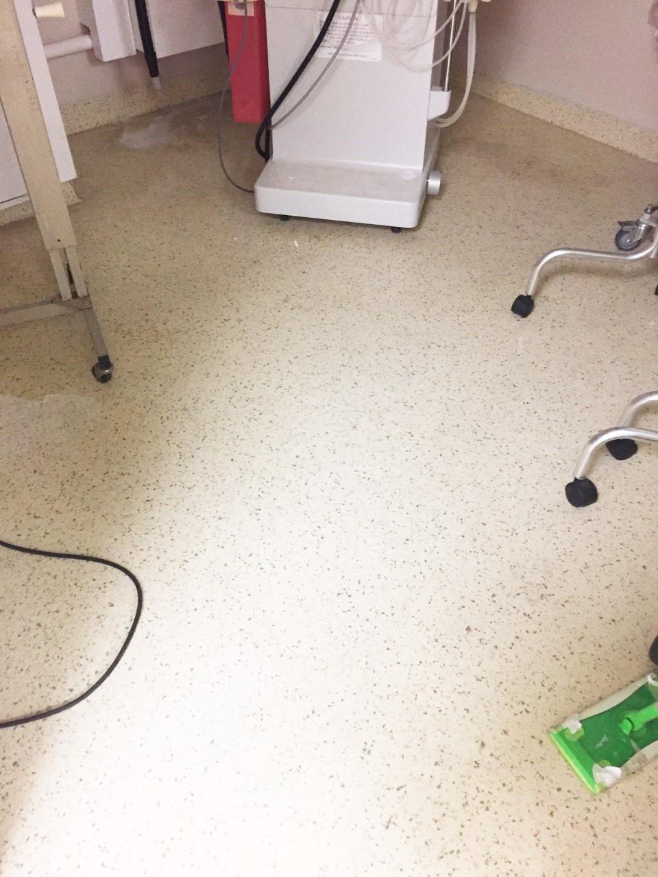 Before - Worn Epoxy Floor at KidneyDialysis Lab.